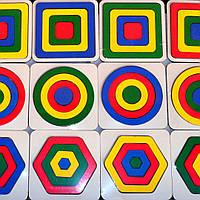 Деревянная развивающая игрушка 1 шт Рамка Вкладыши 4 ЦВЕТА - 3 ВИДА Геометрика Пазлы Цвета Фигуры,011569