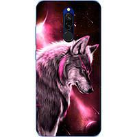 Силиконовый чехол бампер для Xiaomi Redmi 8 с картинкой Волк