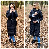 Теплое зимнее пальто,черное с белым, ткань плащевка, арт. М 032