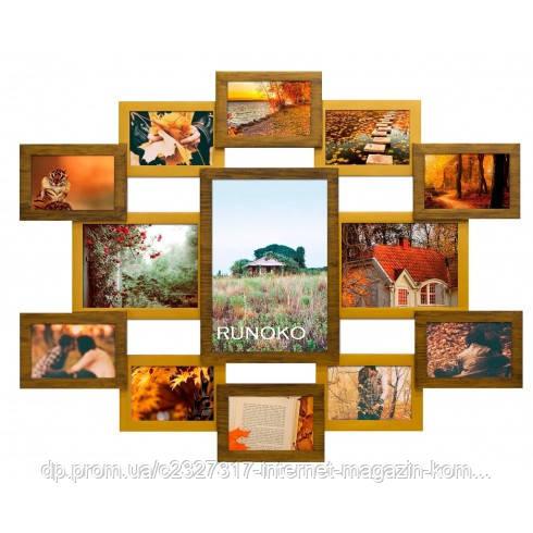 Деревянная мультирамка для фото 13 в 1 Руноко Симметрия Двойное золото