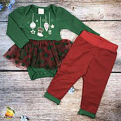 Боди и штанишки с начёсом, новогодняя тематика, для девочки Размеры: 6,9,12,18 месяцев (9359)