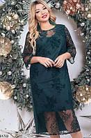 Платье женское вечернее больших батальных размеров 48-52,54-58,60-64,цвет бутылочный