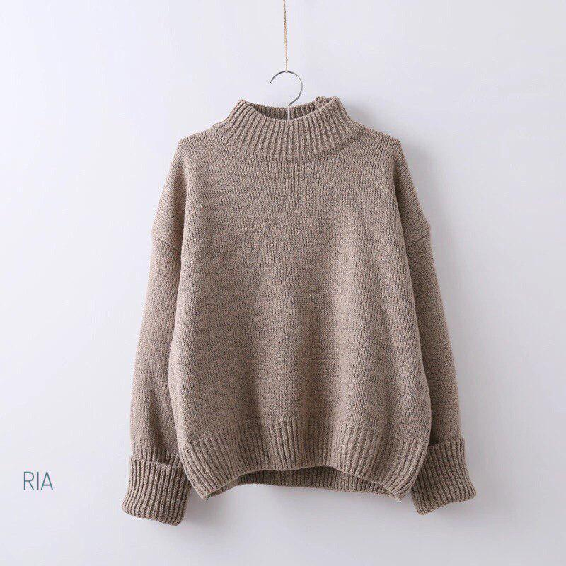 Женский теплый вязаный свитер оверсайз с небольшим воротником стойкой 7704752
