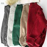 Женский теплый вязаный свитер оверсайз с небольшим воротником стойкой 7704752, фото 2