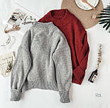 Женский теплый вязаный свитер оверсайз с небольшим воротником стойкой 7704752, фото 6