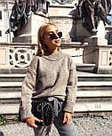 Женский теплый вязаный свитер оверсайз с небольшим воротником стойкой 7704752, фото 7