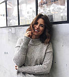 Женский теплый вязаный свитер оверсайз с небольшим воротником стойкой 7704752, фото 8
