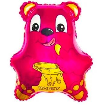 Фольгированный шар Мишка 28см х 24см Розовый