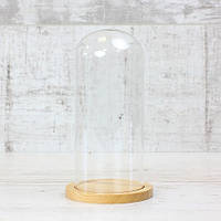 Скляний ковпак на дерев'яній підставці 80*185 мм, натуральний