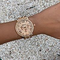 Женские наручные часы металлические Geneva с камнями розовое золото