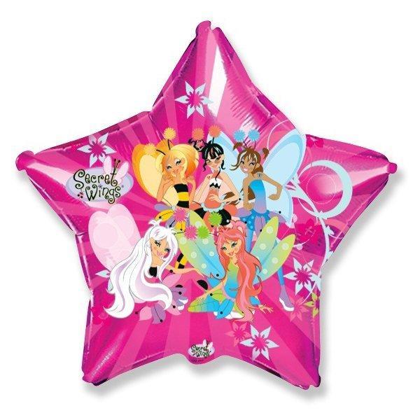 Фольгированный шар Звезда Феи Винкс 45см х 45см Розовый