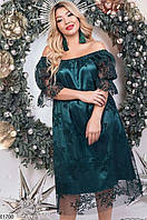 Платье женское вечернее свободное больших батальных размеров 48-52,54-58,60-64,цвет бутылочный