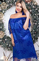 Платье женское вечернее свободное больших батальных размеров 48-52,54-58,60-64,цвет электрик