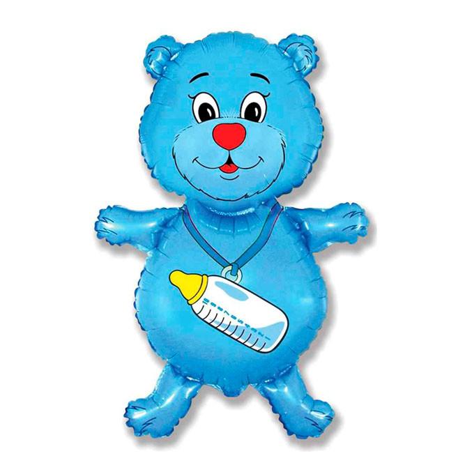 Фольгированный шар Медвежонок с бутылочкой  92 х 59 см Голубой