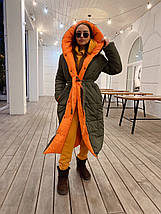 Зимовий двосторонній пуховик-ковдра розмір оверсайз 42-46, фото 3