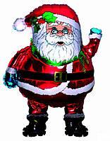 Фольгированный шар  Санта Клаус в очках 76см X 68см Красный