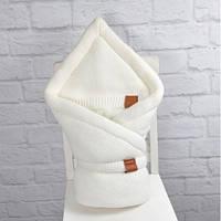 Зимний вязаный конверт-одеяло на выписку MagBaby Familia белый