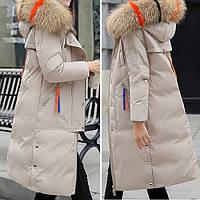 Куртка зимняя женская бежевая длинный пуховик размер 46 (XXL)СС-8492-16