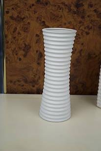 Ваза для цветов белая керамическая ребристая матовая
