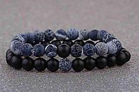 Парные браслеты для влюбленных из натурального камня Морозный агат и Шунгит