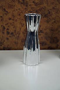 Ваза для квітів срібляста металева ребриста глянцева