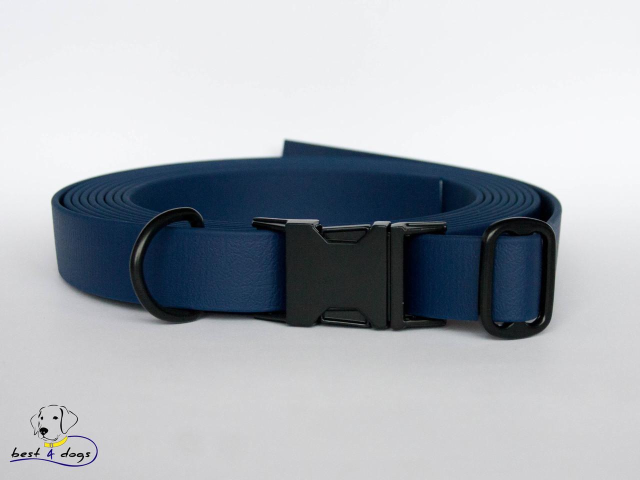 Ошейник из биотана, Синий Тёмный, 25мм(с черным фастексом)