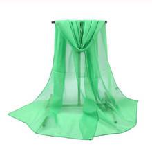 Женский шифоновый шарф салатовый - размер 155*48см