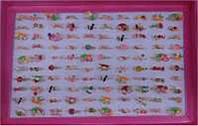 """Кільце метал 473-H -емаль """"Фрукти, птиця, заєць, квіти, павич, кольорові"""" уп100"""
