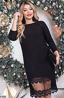 Платье женское нежное красивое больших батальных размеров 48-62,цвет черный