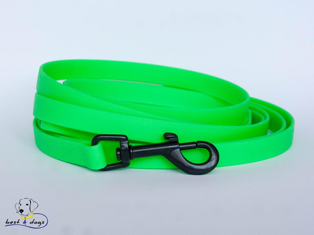 Поводок из биотана(Biothane) Зеленый Неон 16мм