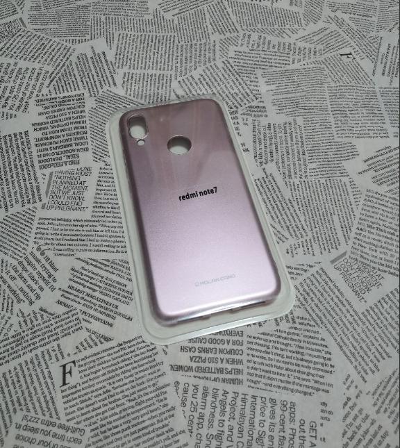 Силиконовый чехол с глянцевым покрытием MOLAN для Xiaomi (Ксиоми) Redmi Note 7 Розовое золото