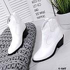 Женские демисезонные ботинки казаки белого цвета, натуральная кожа (в наличии и под заказ 7-16 дней), фото 4