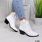 Женские демисезонные ботинки казаки белого цвета, натуральная кожа (в наличии и под заказ 7-16 дней), фото 5