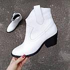 Женские демисезонные ботинки казаки белого цвета, натуральная кожа (в наличии и под заказ 7-16 дней), фото 8