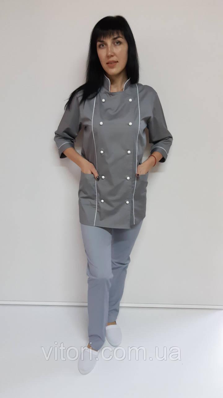 Кітель Класика для кухаря на пуклях коттоновый три чверті рукав