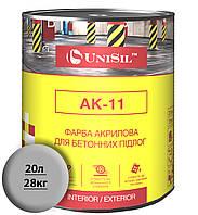 Акриловая краска для бетонных полов Unisil АК-11 Серая (20 л/28 кг)