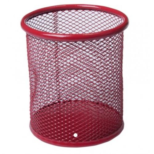 Стакан BUROMAX 6202-05 канц. металлический круглый 80х80х97мм красный (1/12/96)