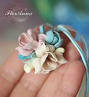 """Кулон с цветами из полимерной глины """"Песочный мармелад"""", фото 1"""