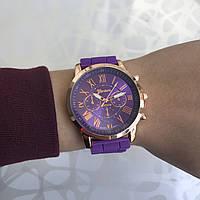 Женские наручные часы силиконовые Geneva римские цифры фиолетовые