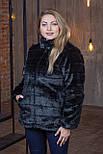 Женская короткая черная шуба в больших размерах без капюшона 392094, фото 3