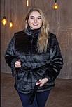 Женская короткая черная шуба в больших размерах без капюшона 392094, фото 4