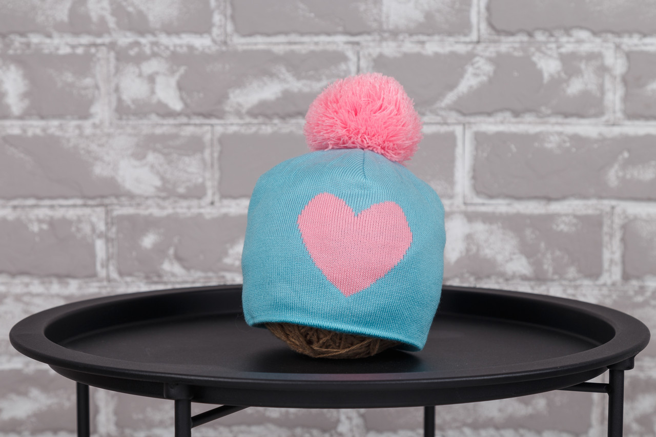 "Шапка ""`Heart"", бирюзово-розовая"