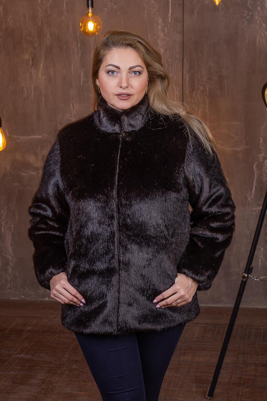 Женская короткая искусственная шуба большого размера без капюшона 392095
