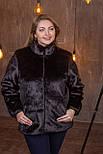 Женская короткая искусственная шуба большого размера без капюшона 392095, фото 2
