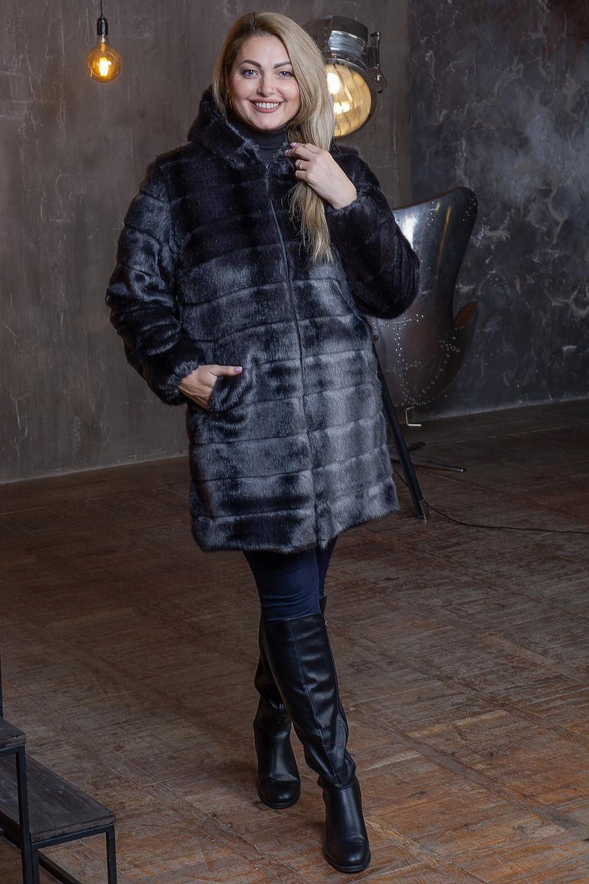 Женская искусственная шуба в больших размерах с каюшоном и молнией 392096