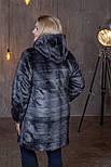 Женская искусственная шуба в больших размерах с каюшоном и молнией 392096, фото 2