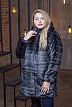 Женская искусственная шуба в больших размерах с каюшоном и молнией 392096, фото 3