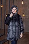 Женская искусственная шуба в больших размерах с каюшоном и молнией 392096, фото 4