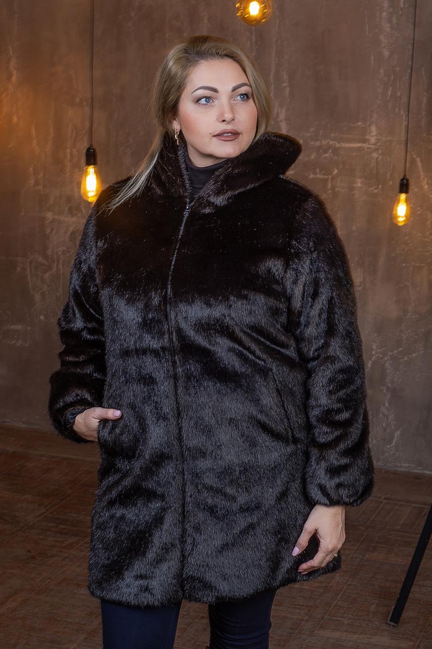 Темно-коричневая женская шуба из экомеха с капюшоном в больших размерах 392097