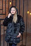 Женская черная искусственная шуба в больших размерах с капюшоном и поясом 392098, фото 3